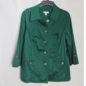 Charter Club Green Gold Button 3/4 Sleeve Blazer